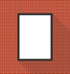 Blank picture frame on brick wall vector