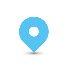 blue map pointer with dropped shadow on white vector image vector image