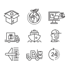 delivery flat icons vector image vector image