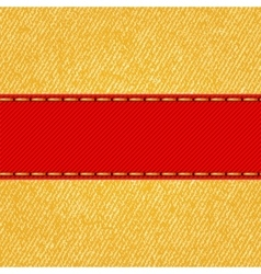Fabric texture with label ribbon vector image