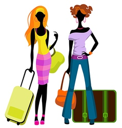 girls with suitcases vector image vector image