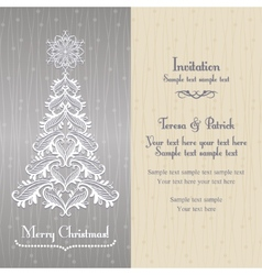 Greeting card with Christmass tree silver vector image
