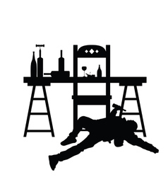 man drunk silhouette in black color vector image