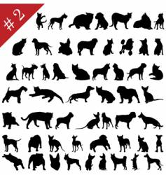 pets silhouettes vector image vector image