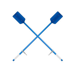 two crossed old oars in blue design vector image vector image
