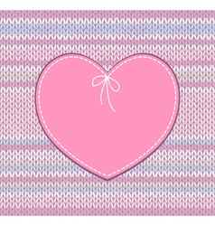 Vintage Card Heart Shape Design with Knit vector image