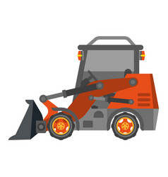 bulldozer tractor with heap in flat design vector image