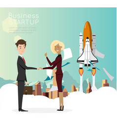 businessman handshake with city background for vector image vector image