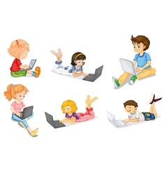 kids with laptop vector image vector image