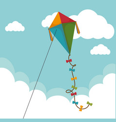 kite flying toy icon vector image