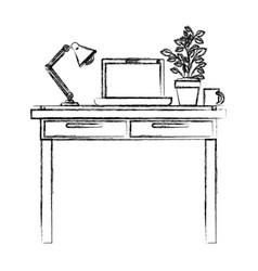 monochrome blurred silhouette of work place office vector image vector image