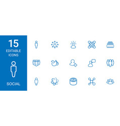 15 social icons vector image