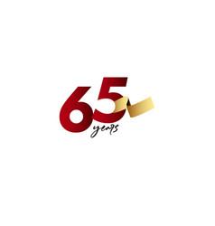 65 years anniversary celebration gold ribbon vector