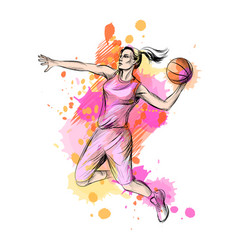 Abstract basketball player with ball from a splash vector