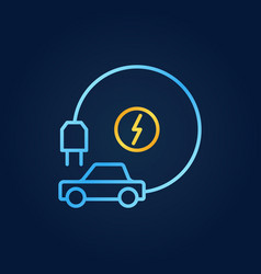 All-electric car with plug bright outline vector