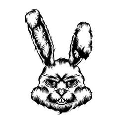 animal tattoo smile scare rabbit vector image