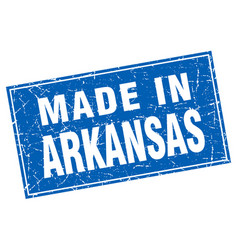 arkansas blue square grunge made in stamp vector image