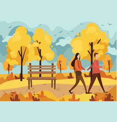 autumn park with a bench and a walking couple in vector image