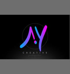 Ay artistic brush letter logo handwritten vector