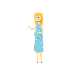 beautiful blonde woman expecting baby cartoon vector image