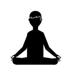 Black icon lotus pose cartoon vector