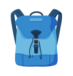 Blue backpack front view schoolbag or camping vector