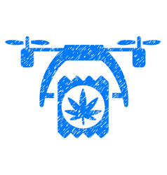 Cannabis drone delivery grunge icon vector