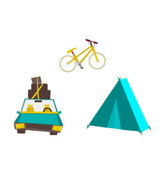 Car with baggage tourist tent and mountain bike vector