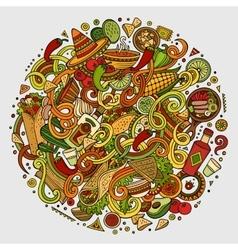 Cartoon cute doodles Mexican food vector