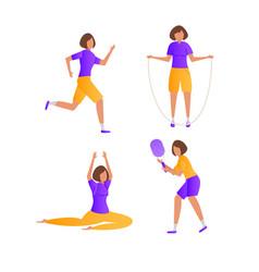 cartoon girl doing sports vector image