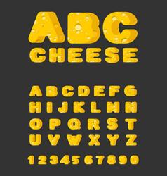 cheese abc cheesy font food alphabet yellow vector image