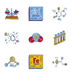 Chemistry formula icon set hand drawn style vector