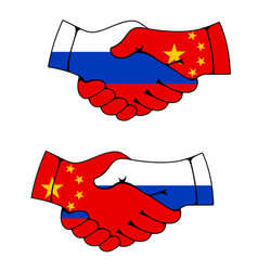 China and russia cooperation handshake vector