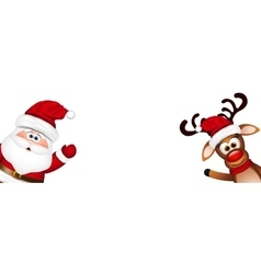 Christmas background Funny Santa and Reindeer vector