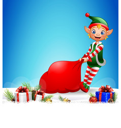 christmas background pulling a bag full of gifts vector image