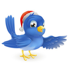 christmas santa hat pointing bluebird vector image
