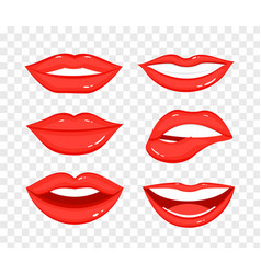 collection red lips on vector image
