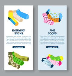 Colorful socks dotted stripped and bright vector