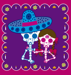 Couple day of the dead vector