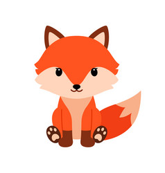 Cute cartoon fox in modern simple flat style vector