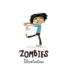 Cute walking dead man character in cartoon style vector