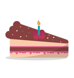 Delicious piece cake chocolate candle birthday vector