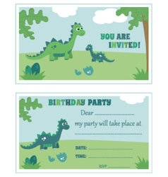Dinosaur birthday party invitation vector image