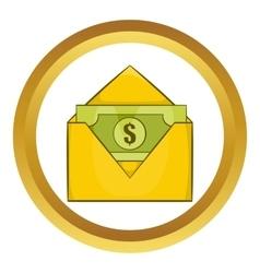 Dollar bills in yellow paper envelope icon vector image