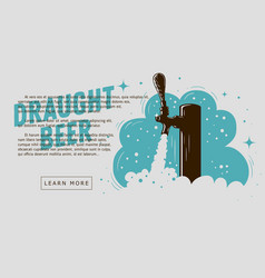 Draught beer tap with foam web banner design for vector