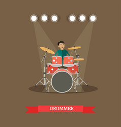 Drummer playing drums vector