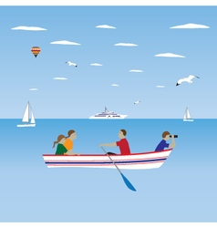 Family by the boat Family vacation vector