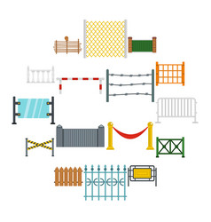 Fencing icons set in flat style vector