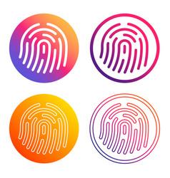 fingerprint icon sign shape button set gradient vector image