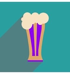 Flat web icon with long shadow glass of beer vector
